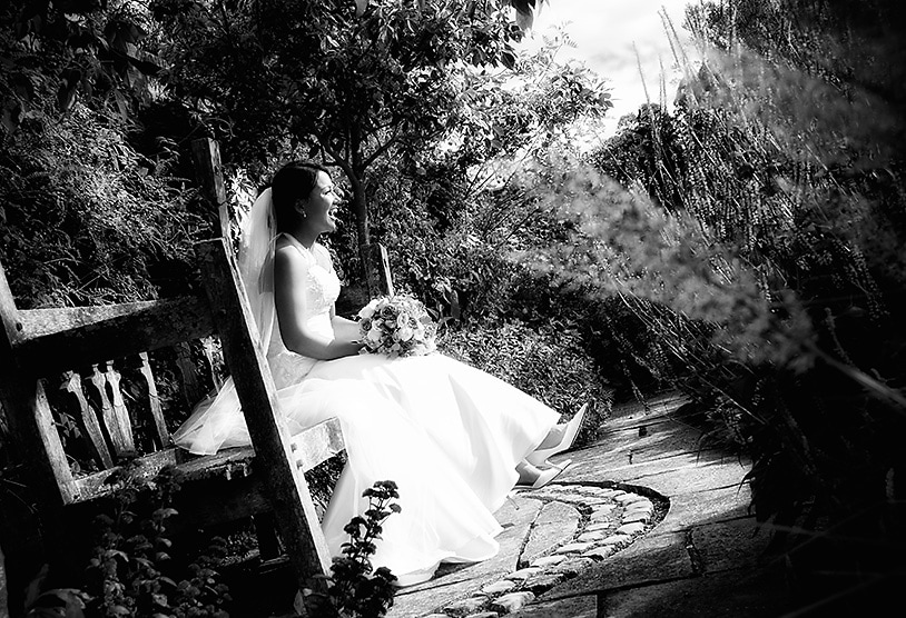 Beautiful Bride in the gardens at The Barn at Bury Court, Bentley, Surrey