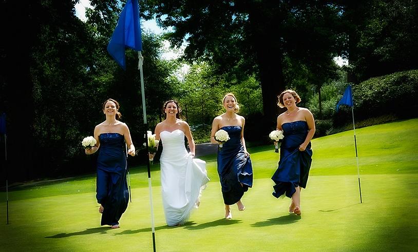 Wedding girls on a th 18th hole