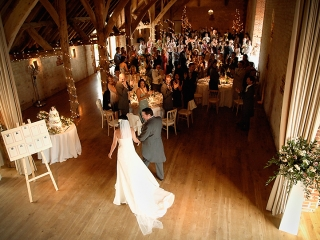 Entrance of the Bride and Groom at The Barn at Bury Court Surrey