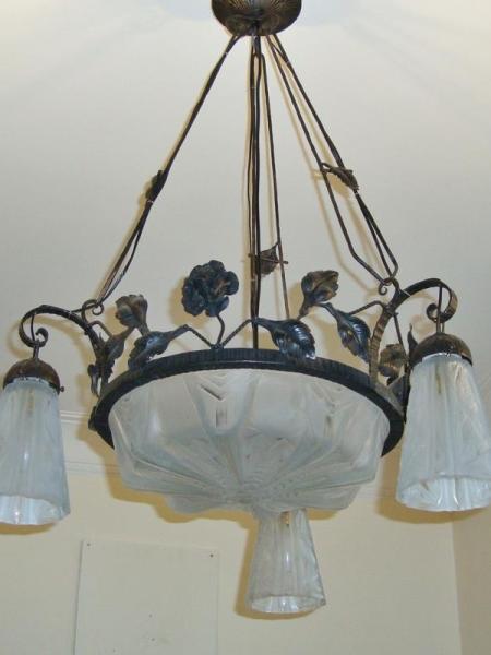 Muller Freres wrought iron art deco chandelier, circa 1930