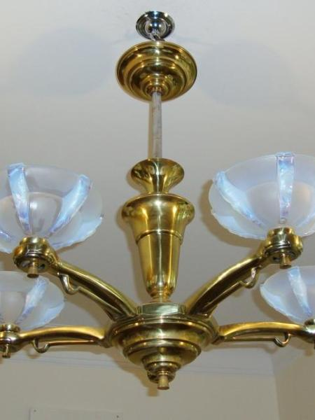 French opalescent-glass art deco ceiling light, circa 1935