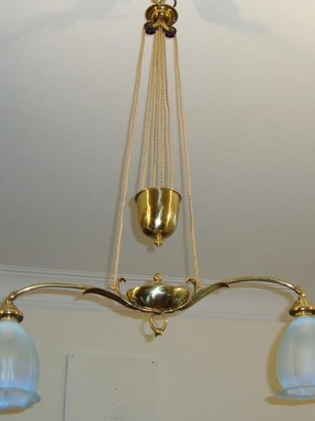 "Edwardian two-arm brass ""rise & fall"" ceiling light, circa 1905"