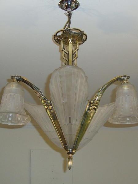 Attributed Genet et Michon art deco ceiling light, circa 1925
