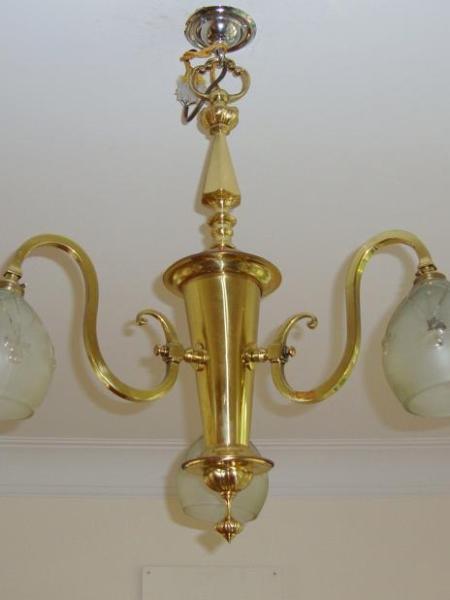 Edwardian three-branch hanging lamp, circa 1925