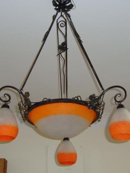 Rethondes orange pate-de-verre chandelier, circa 1930