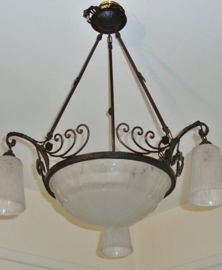 Muller Freres wrought-iron art deco chandelier, circa 1930
