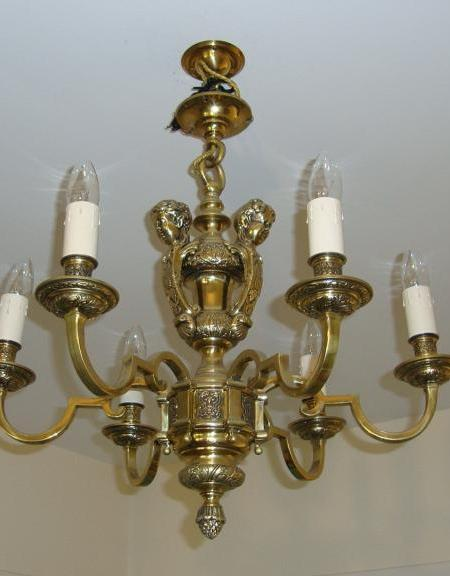 French bronze six-branch candelabra, early circa 20th