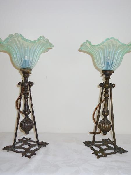 A Pair of neo-gothic table lamps attributed to Faraday & Sons