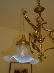 English cast-brass art nouveau ceiling light, circa 1905