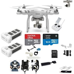 DJI-Phantom-3-Advanced-Quadcopter-Drone-with-27K-HD-Camera-EVERYTHING-YOU-NEED-Kit-2-Total-DJI-Batteries-32GB-Class-10-Micro-SD-Reader-Carry-on-System-wHarness-0