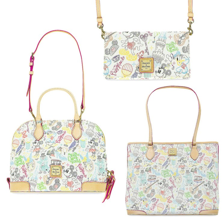 Disney Parks fashion purses, MagicBands and other accessories from Dooney & Bourke and Vera Bradley celebrate Disney Parks icons and movies.