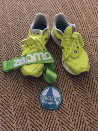 shoes and medal