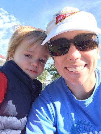 Hanging out with my running partner post race
