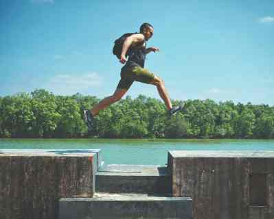 man jumping freedom