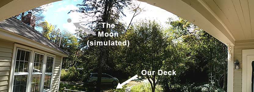 Panorama of deck with eclipsing moon