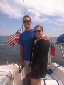Jen and I sailing on my dad's boat