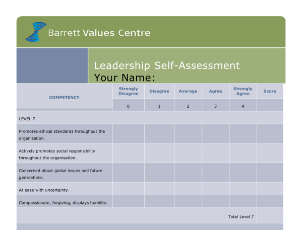 Screenshot of Leadership Self-Assessment Tool