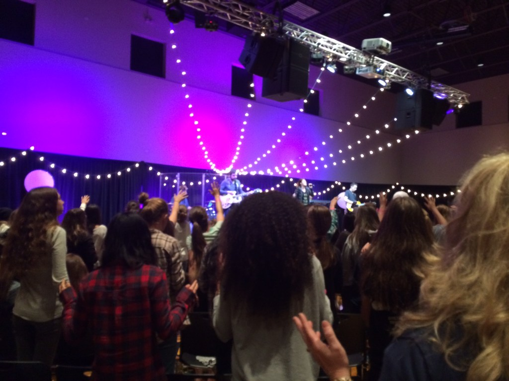 Girls' Conference... I love the sparkly lights!