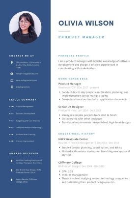 Example of a product manager resume that is NOT ATS friendly
