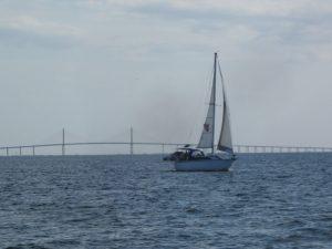 Sailing near Sunshine Skyway Bridge in Tampa Bay.