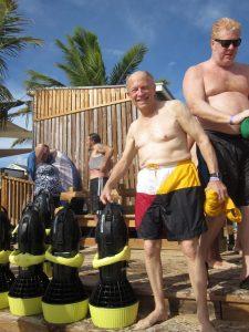 Bob returns from high-speed snorkeling.