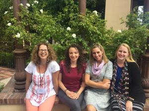 Orly Konig Lopez, Jamie Raintree, Ella Olson, and Aimie Runyan relax at the WFWA conference