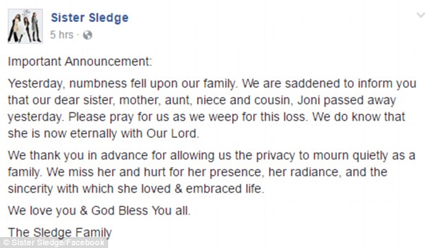 Joni Sledge Death Announcement