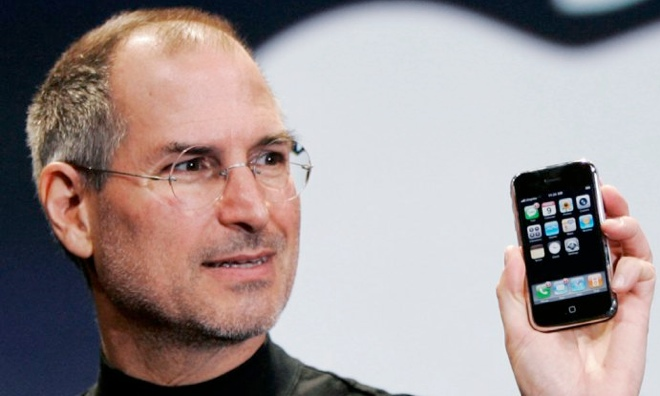Steve Jobs with the Original iPhone (2007)