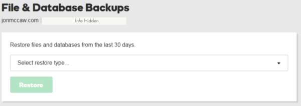 Start a WordPress Blog -Backup screen