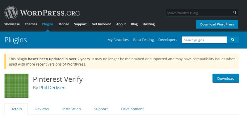 Plugins For WordPress - Pinterest Verify
