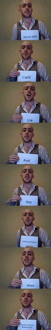 Jonny Campbell's Charlie Sheen internship hoax
