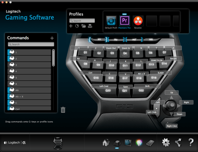 video editing with logitech g13