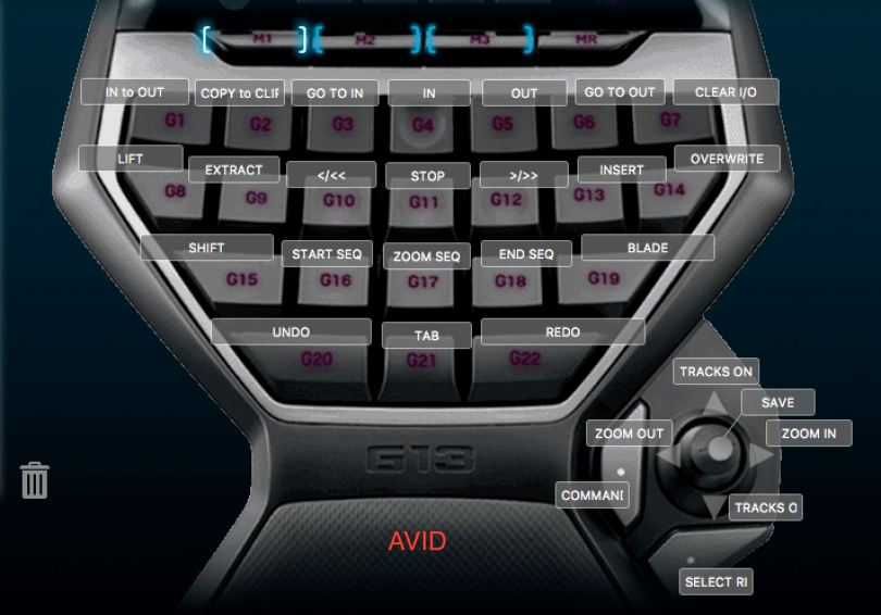 Logitech G13 settings for Avid Media Composer