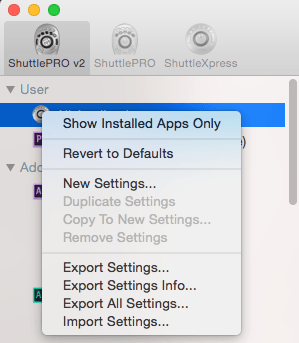 reduce apps list in shuttle pro 2