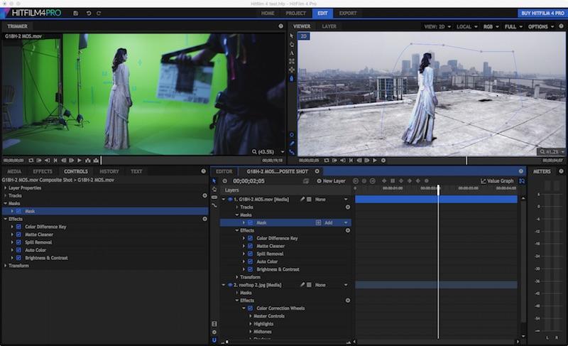 Hitfilm 4 Pro interface