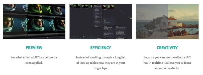 Davinci Resolve visual LUT browser