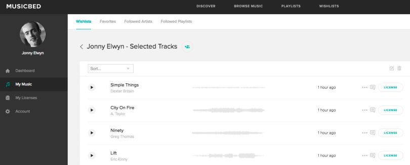 selected tracks on the music bed
