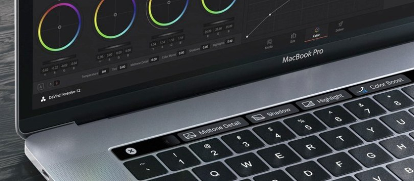 DaVinci resolve on new macbook pro with touchbar