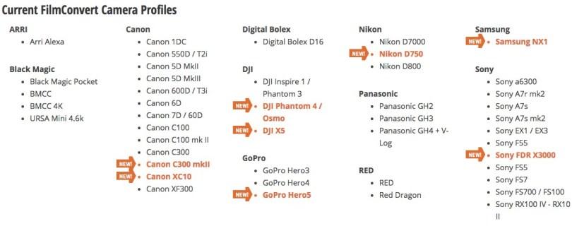 filmconvert camera profiles