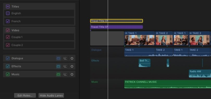 using roles in fcpx