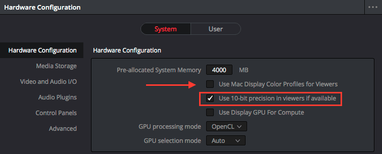 10bit video in Davinci resolve viewers
