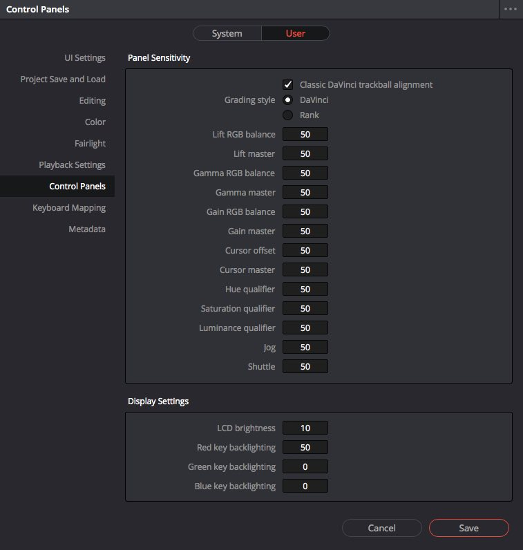 change control panel sensitivity in Resolve