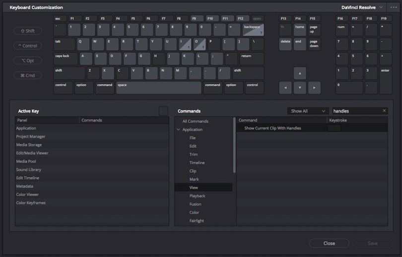 custom keyboard in davinci resolve