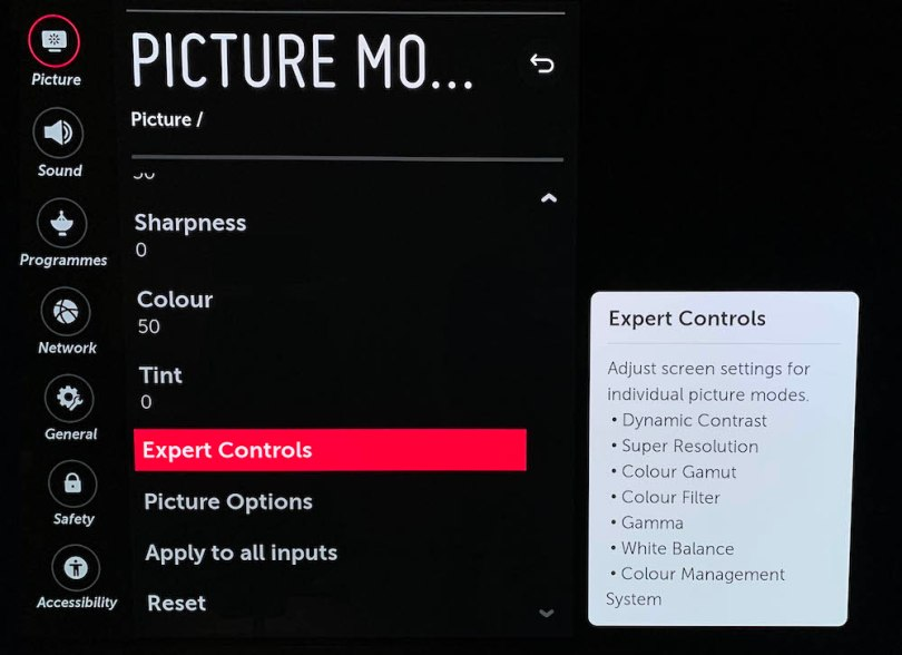 OLED E8 picture controls