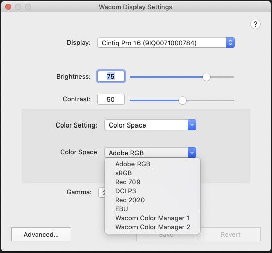 Wacom Cintiq Pro 16 Color spaces