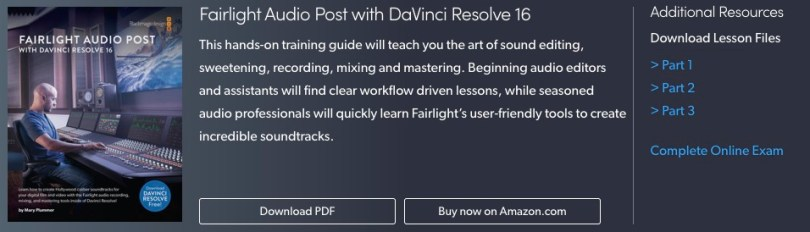 Download DaVinci Resolve Fairlight Training free
