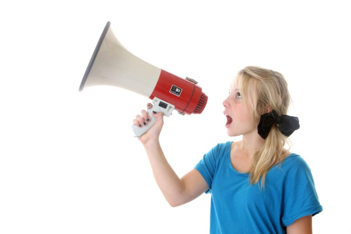 Child with megaphone...