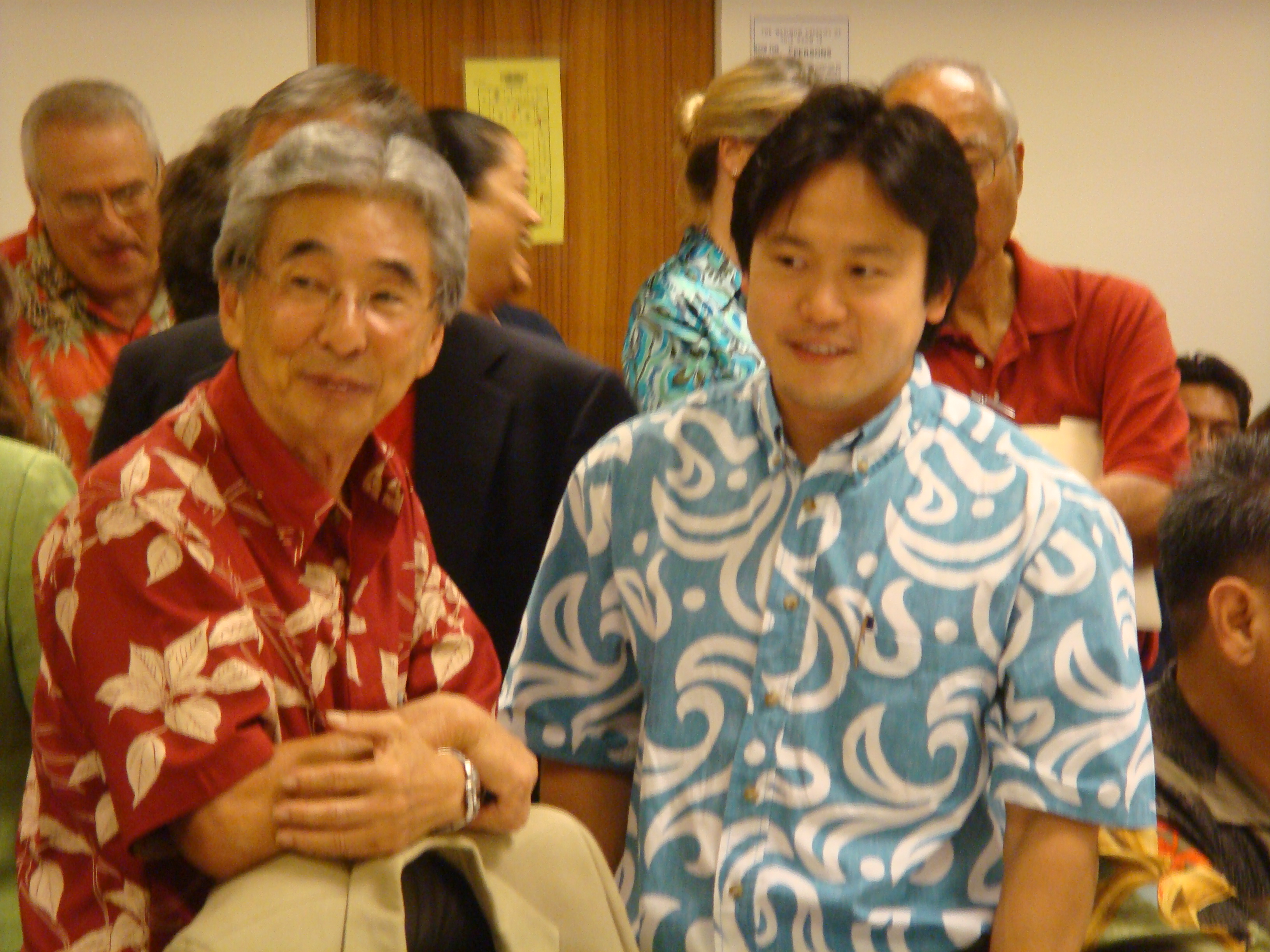 Rep. Clift Tsuji & Rep. Jon Riki Karamatsu at a House-Senate conference during the 2008 Legislative Session.