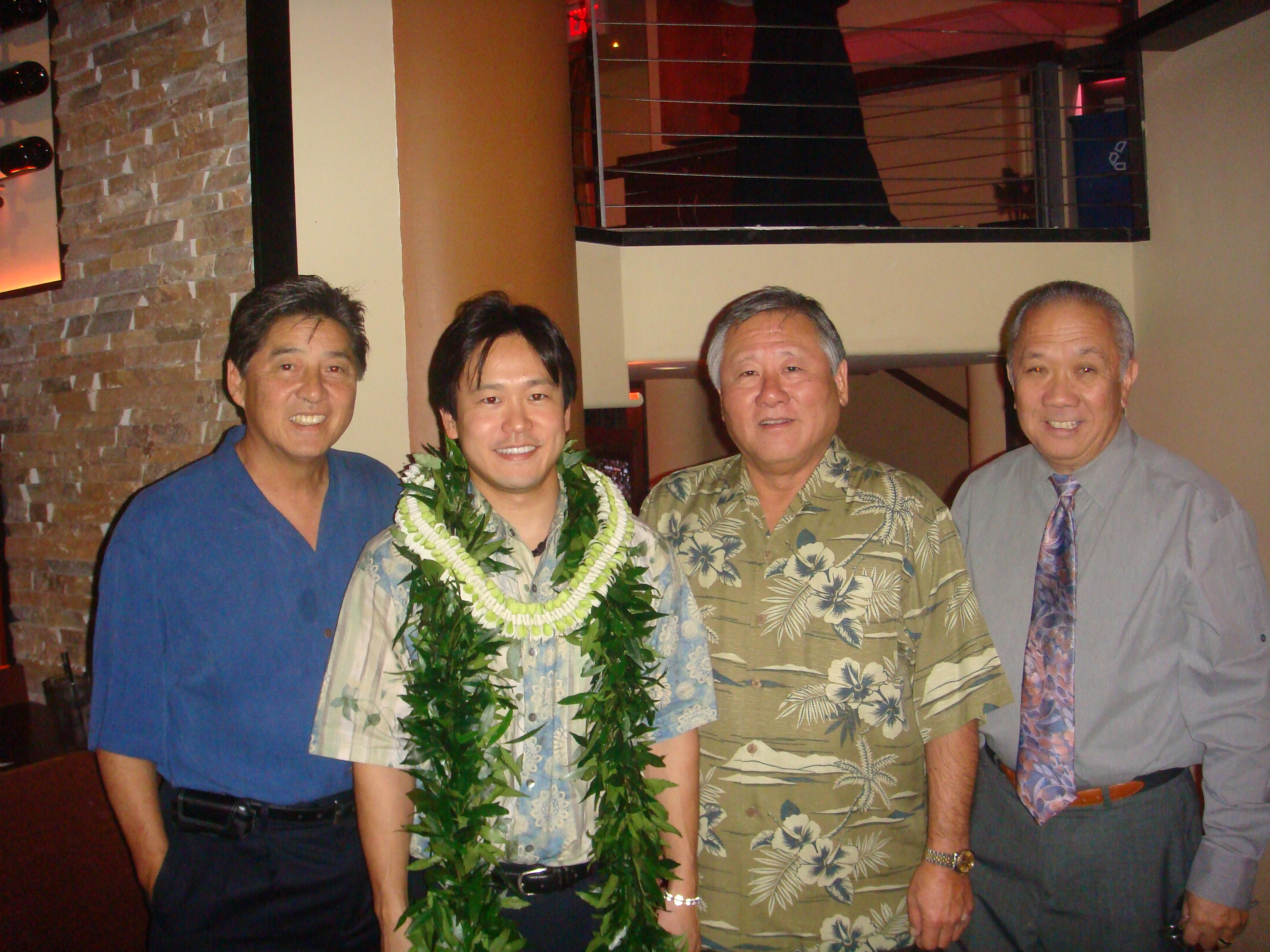 Rep. Jerry L. Chang, Rep. Jon Riki Karamatsu, Rep. Ken Ito, & Speaker Calvin K.Y. Say at Karamatsu's March 11, 2009 fundraiser at Bonsai Restaurant.