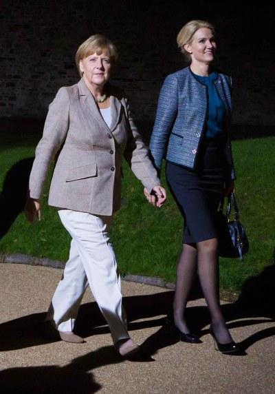 Angela Merkel, German Chancellor with Helle Thorning-Schmidt, Prime minister of Denmark NATO summit.
